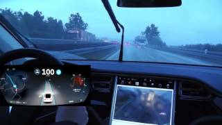 Download Tesla ″Autopilot″ 8.0: Autobahn nach Ulm (mit Fahrerdisplay) Video
