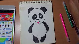 Download Como dibujar un oso panda para niños /Drawing a panda bear for kids Video