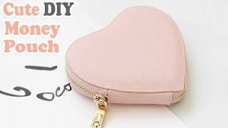 Download DIY HEART PURSE BAG // PU Lather Zipper Money Pouch & Credit Card Holder No Sew Video