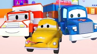 Download Carl Transform and the Ambulance help Tom The Tow Truck in Car City | Trucks cartoons for kids 🚑 🚒 Video