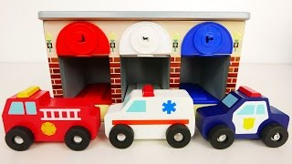 Download Fire Truck Police Car Ambulance Emergency Vehicles with Garage Playset for Kids Video