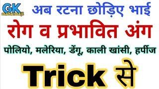 Download Science GK | Diseases gk trick | मानव रोग व प्रभावित अंग | Science gk for railway group D Video