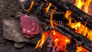 Download Cooking Meat for Primitive Survival on a Rock Video