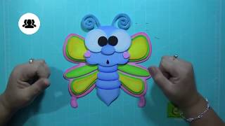 Download Mariposa en Foamy, Goma Eva, Microporoso (Butterfly, Borboleta) Colores Escolares Video