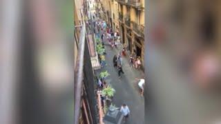 Download Raw: Barcelona Pedestrians Flee Near Van Attack Video