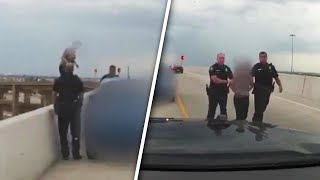 Download Cops Plead With Distraught Woman Not to Jump Off Texas Highway Overpass Video