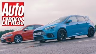 Download Ford Focus RS vs VW Golf R: 4WD hot hatch drag race Video