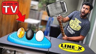 Download I Bought A PILLOW That Makes Any Egg UNBREAKABLE!! (LINE-X EGG EXPERIMENT) Video