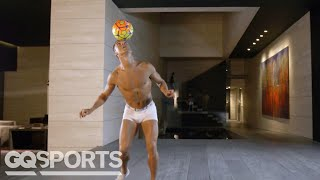 Download Watch Human Statue Cristiano Ronaldo Juggle a Soccer Ball in his Underwear Video