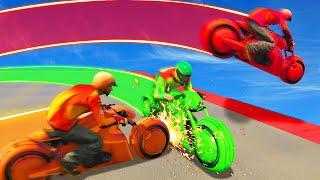 Download MILE HIGH TRON BIKE LASER BATTLES! (GTA 5 Funny Moments) Video