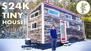 Download Young Man Builds $24K Tiny House + Winter Living Experience & Tour Video