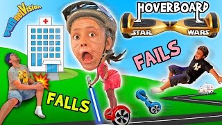 Download Little Granny Lightsaber! HOVERBOARD Family Fails and Falls! (Star Wars FUNnel Vision Vlog) Video