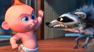 Download INCREDIBLES 2 - Baby Jack Jack vs Raccoon Fight Scene (2018) Movie Clip Video