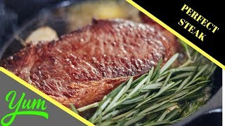 Download How to Cook a Ribeye Steak in a Cast Iron Pan | How to Make the Perfect Steak Recipe Video