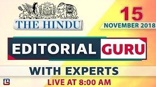 Download The Hindu | Editorial Guru | 15 November 2018 | UPSC, RRB,Bank, IBPS, SSC | 8:00 am Video