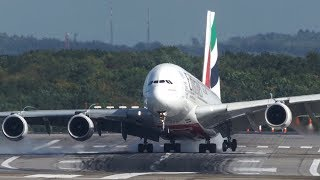 Download Unbelieveable AIRBUS A380 HARD CROSSWIND LANDING during a STORM at Düsseldorf - 4K Video