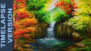Download Water Falls In Autumn Forest - Acrylic Painting Tutorial TIMELAPSE VERSION Video