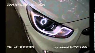 Download AGFV401, Fluidic Verna, Porsche Style, AES Projector headlight with HID, by autoglam.in Video