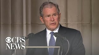 Download Former President George W. Bush delivers final eulogy at father's funeral Video