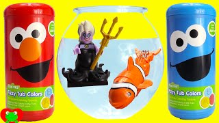 Download Sesame Street Elmo and Cookie Monster Bath Fizzers LEARN Colors and Surprises Video