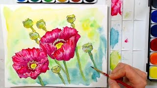 Download Poppies in Watercolor Tutorial // cheap supply challenge! Video