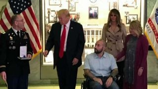 Download President Trump presents Purple Heart to US service member Video