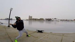 Download Paul Rabil Throws a Lacrosse Ball Across Baltimore Harbor Video