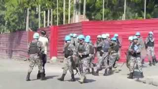 Download United Nations Peacekeeper Soldiers Fire at Protestors in Haiti Video
