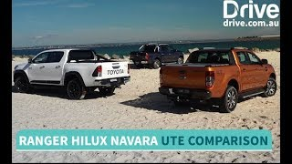 Download Toyota HiLux TRD v Ford Ranger Wildtrak v Nissan Navara Comparison   Drive.au Video