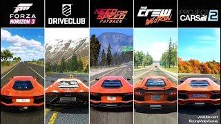 Download NFS Payback vs. Forza Horizon 3 vs. DriveClub vs. The Crew vs. Project CARS 2 | Aventador Comparison Video