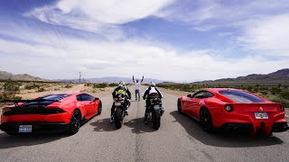 Download STREET RACING SUPERBIKES VS SUPERCARS! *Ferrari, Lamborghini VS Ducati, BMW* Video