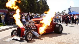 Download Monster Hot Rod Wild Thang Shooting Flames, Loud Engine Sound and Rev! Extreme Automotive Prolong Video