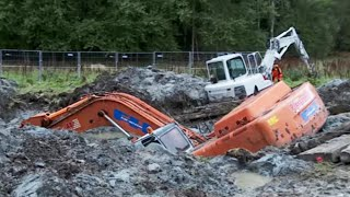 Download Two Excavators stuck in deep clay - Heavy Recovery - Terribärgarn, Sweden Video