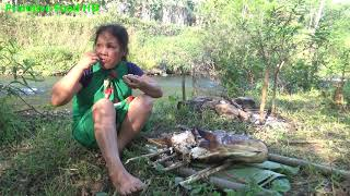 Download Primitive Technology Wild Girl - Survival skills catch big fish and Cooking fish - Eating delicious Video