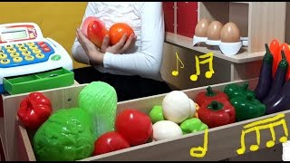 Download Shopping time, funny time song. Kids playing with fruits and vegetables toys. Video