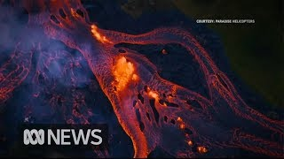 Download Rivers of fast-moving lava flow from Hawaii's volcano Video