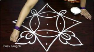 Download creative and easy rangoli designs with 5x1 dots    muggulu designs with dots    simple kolam designs Video