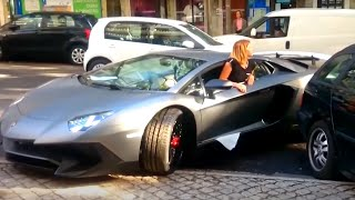 Download Girl Driving Skills | Lamborghini Aventador vs Truck TIR !!! Video