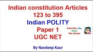 Download NTA NET | Indian constitution Articles 123 to 395 Video