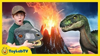 Download Jurassic World Fallen Kingdom Volcano Adventure Dinosaur Skit! Giant Life Size T-Rex & Toy Dinosaurs Video