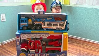 Download Toy Truck Videos for Children - Toy Bruder Mack Fire Engine and Toy Police Truck and Helicopter Video