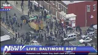 Download Aerial coverage of Baltimore Riots following Freddie Gray funeral Video