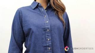 Download Harriton M550W | Ladies' Long-Sleeve Denim Shirt | RushOrderTees Video