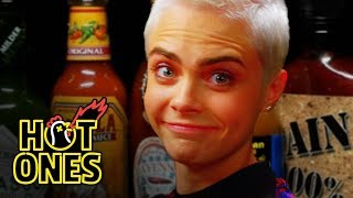 Download Cara Delevingne Shows Her Hot Sauce Balls While Eating Spicy Wings | Hot Ones Video