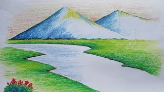 Download Beginners Mountain Landscape Drawing with Oil Pastel Video