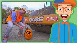 Download Blippi Halloween Song | Crushes Pumpkin with Roller Construction Vehicle Video