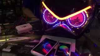 Download Headlight z250 review with wifi controller angel eye and devil eye rgb Video