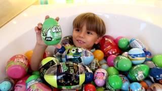 Download Surprise Eggs Bath - Star Wars Spider Man Toys etc Video