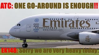 Download A380 Emirates [Right of weight] B737 Go Around [ATC: one Go Around is enough] Video