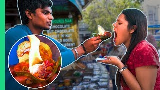 Download Exotic Indian Street Food Tour in Delhi, India! Crazy FLAMING FIRE PAAN! Video